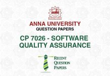 CP 7026 SOFTWARE QUALITY ASSURANCE
