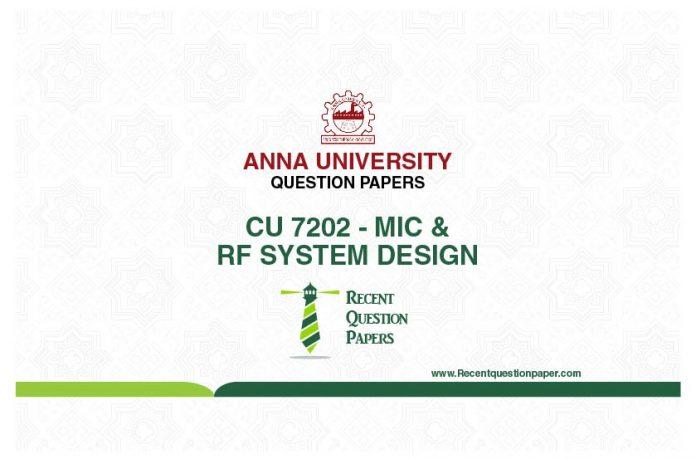 CU 7202 MIC AND RF SYSTEM DESIGN