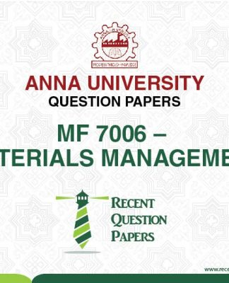 MF 7006 MATERIALS MANAGEMENT