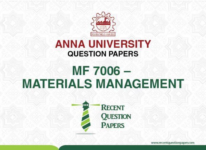 MF 7006 MATERIALS MANAGEMENT
