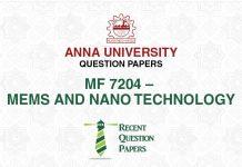 MF 7204 MEMS AND NANOTECHNOLOGY