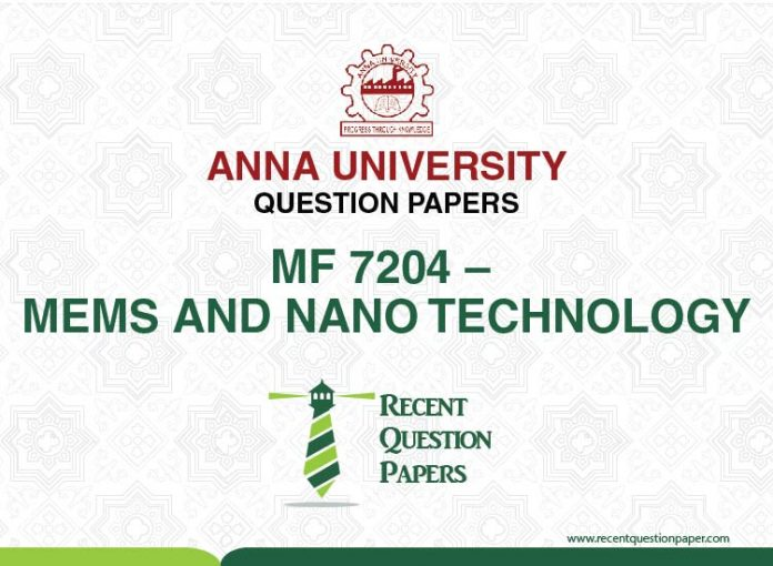 MF 7204 MEMS AND NANOTECHNOLOGY