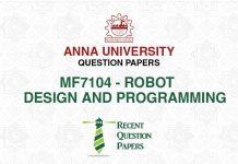 MF 7104 ROBOT DESIGN AND PROGRAMMING