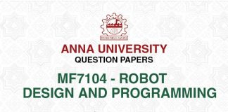 MF 7104 ROBOT DESIGN AND PROGRAMMING