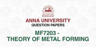 MF 7203 THEORY OF METAL FORMING