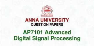 AP7101 ADVANCED DIGITAL SIGNAL PROCESSING