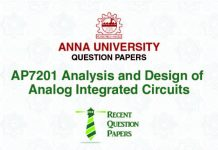 AP7201 ANALYSIS AND DESIGN OF ANALOG INTEGRATED CIRCUITS