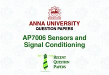 AP7006 SENSORS AND SIGNAL CONDITIONING SYLLABUS 2013 REGULATION