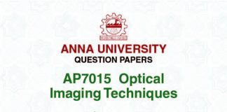 AP7015 OPTICAL IMAGING TECHNIQUES