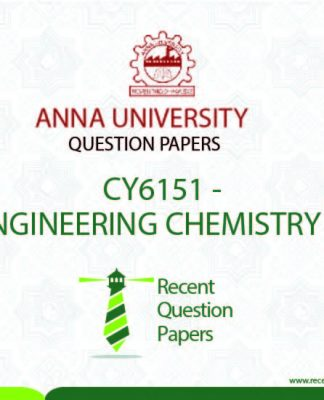 CY6151 ENGINEERING CHEMISTRY – I