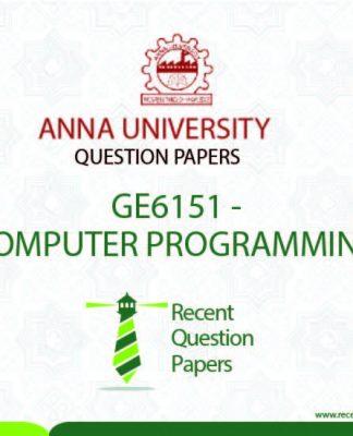 GE6151 COMPUTER PROGRAMMING