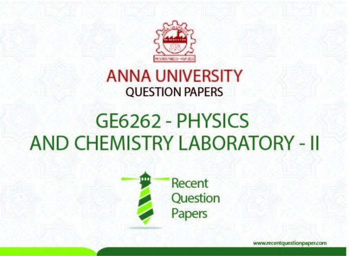 GE6262 PHYSICS AND CHEMISTRY LABORATORY – II SYLLABUS REGULATION 2013