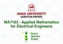 MA7163 APPLIED MATHEMATICS FOR ELECTRICAL ENGINEERS