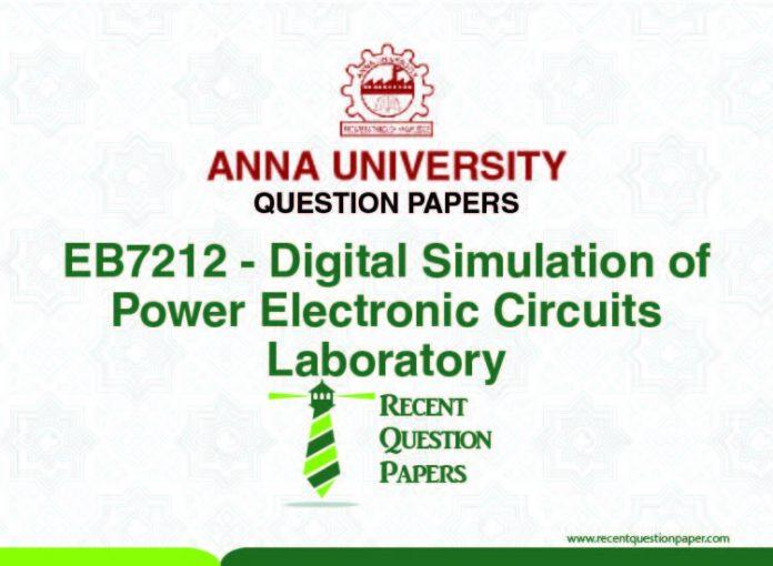 EB7212 DIGITAL SIMULATION OF POWER ELECTONIC CIRCIUTS
