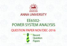POWER SYSTEM ANALYSIS QUESTION PAPER NOVDEC 2016