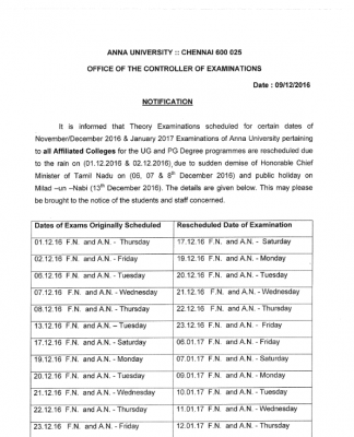ANNA UNIVERSITY EXAM RESCHEDULED DATE NOV/DEC 2016