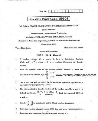 MA6451 PROBABILITY AND RANDOM PROCESSES UNIVERSITY QUESTION PAPER NOV/DEC 2016