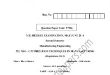 OPTIMIZATION TECHNIQUES IN MANUFACTURING UNIVERSITY QUESTION PAPER MAY/JUNE 2016