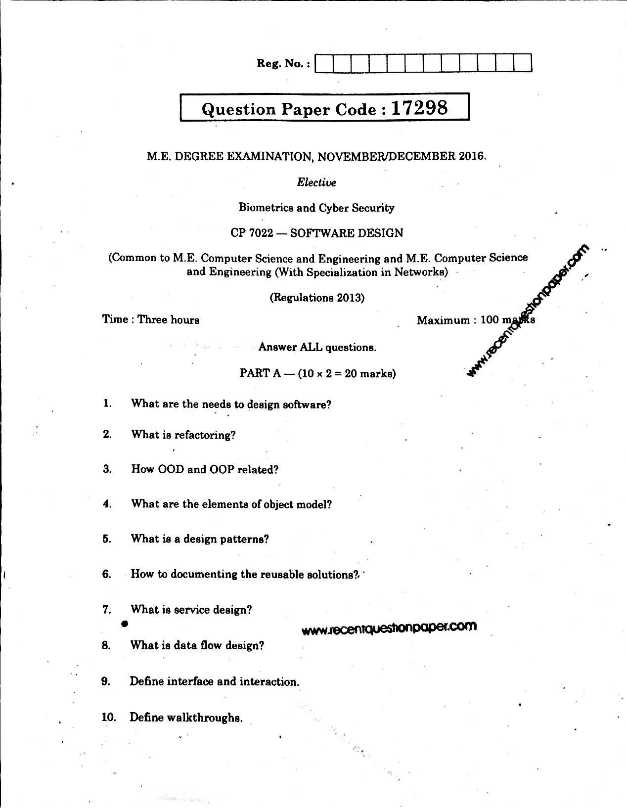 Architecture Design Question Paper