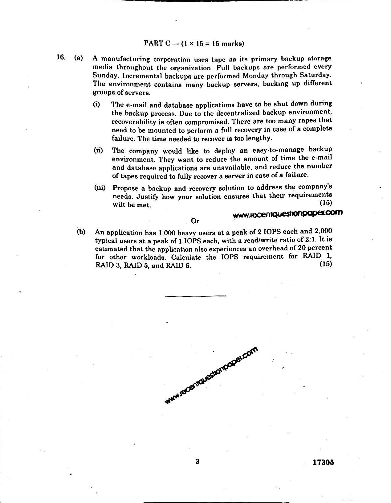 CP7029 INFORMATION STORAGE MANAGEMENT 3 - Recent Question Paper