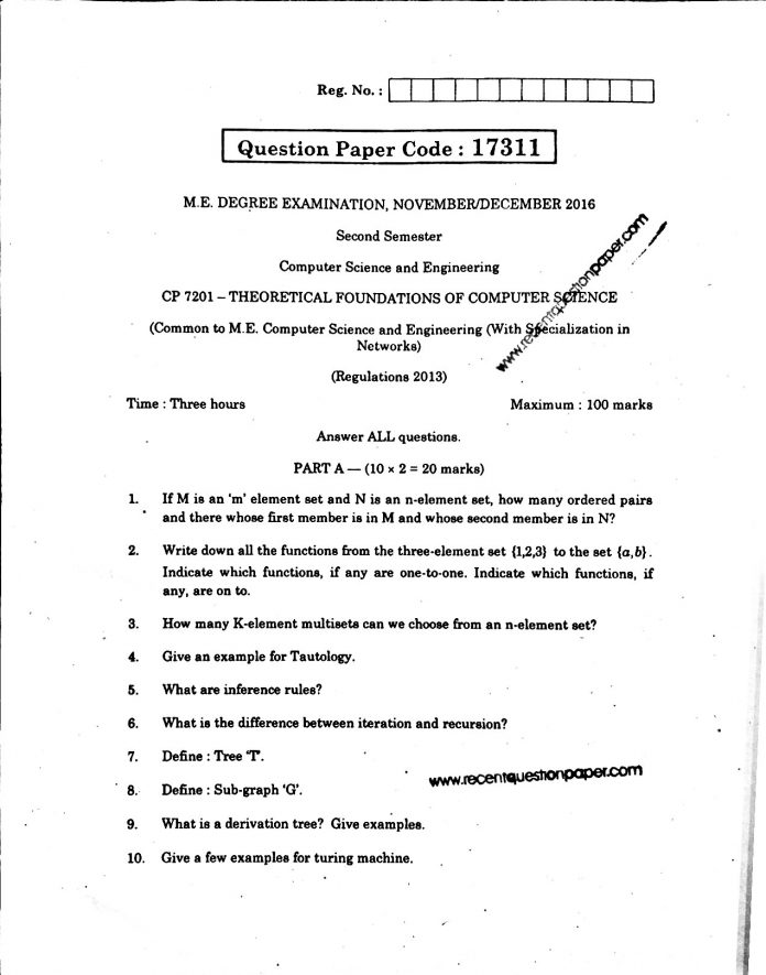 THEORETICAL FOUNDATIONS OF COMPUTER SCIENCE UNIVERSITY QUESTION PAPER NOV/DEC 2016