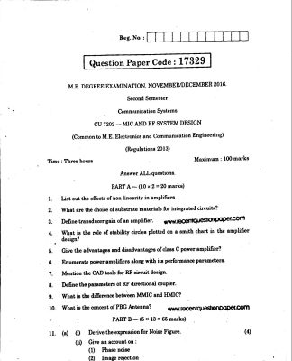 MIC AND RF SYSTEM DESIGN UNIVERSITY QUESTION PAPER NOV/DEC 2016