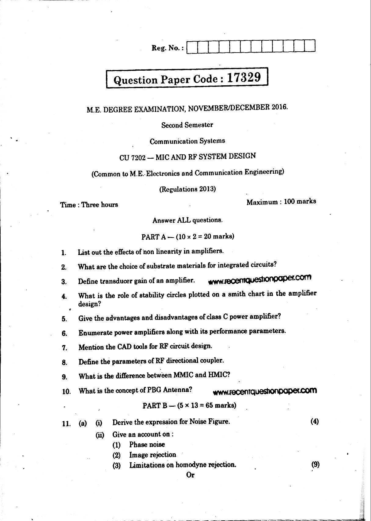 cu7202 mic and rf system design university question papermic and rf system design university question paper nov dec 2016