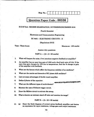 EC6401 ELECTRONIC CIRCUIT-II ANNA UNIVERSITY QUESTION PAPER