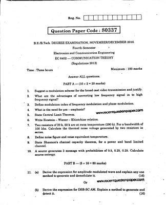 COMMUNICATION THEORY UNIVERSITY QUESTION PAPER NOV/DEC 2016