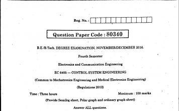 control system university question paper
