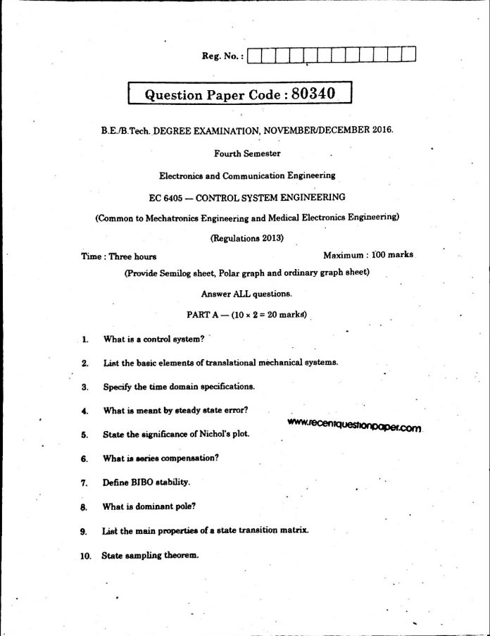 control system university question paper