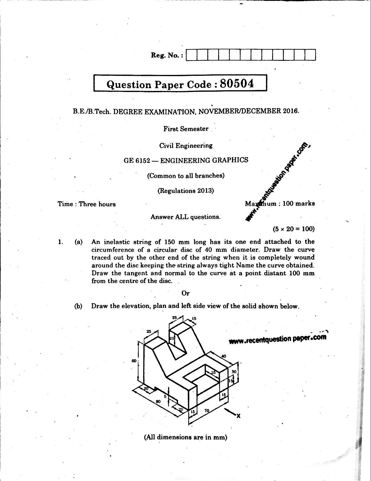 GE6152 Engineering Graphics Anna University Question paper Nov/Dec 2016
