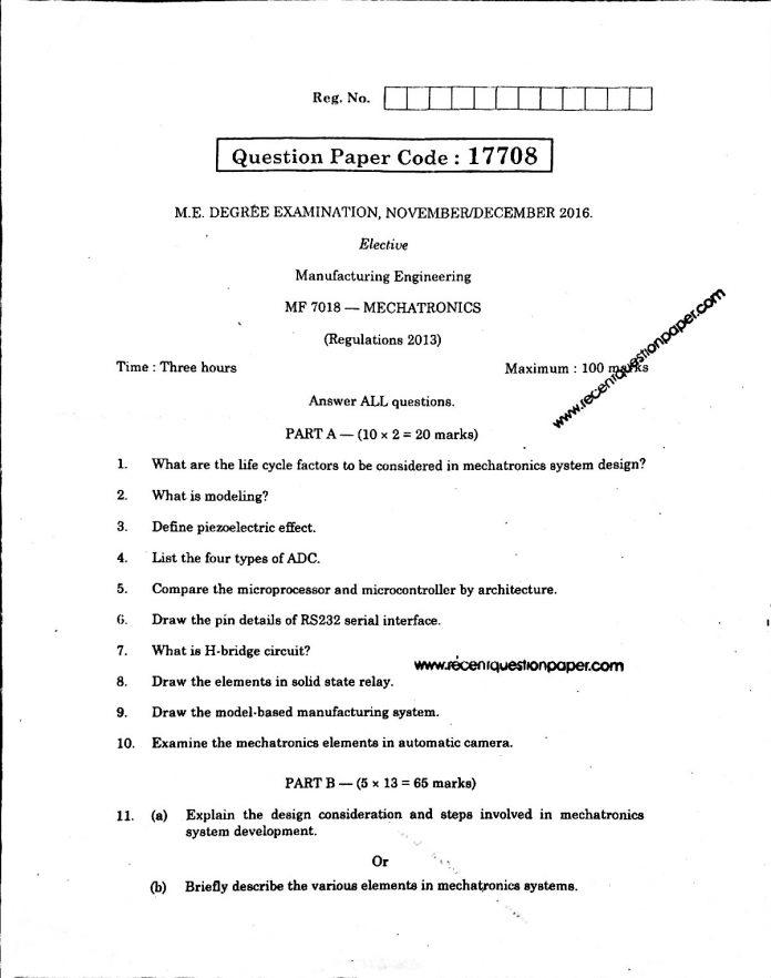 Mf7018 Mechatronics Recent Question Paper