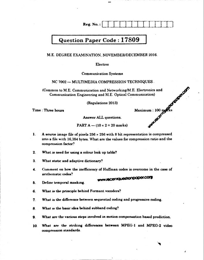 Multimedia Compression Techniques Anna University Question paper Nov/Dec 2016
