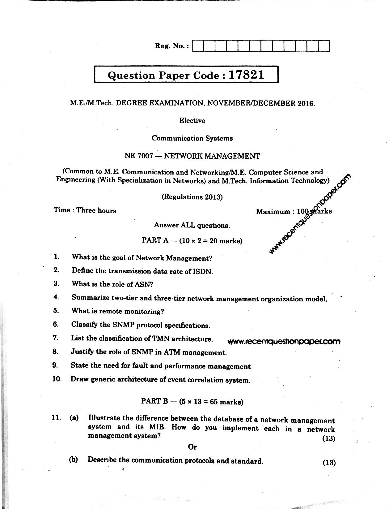 Ne7007 Network Management Recent Question Paper
