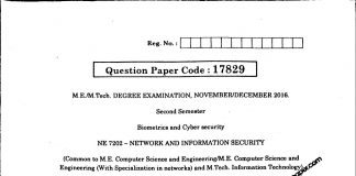 Network And Information Security Anna University Question paper Nov/Dec 2016