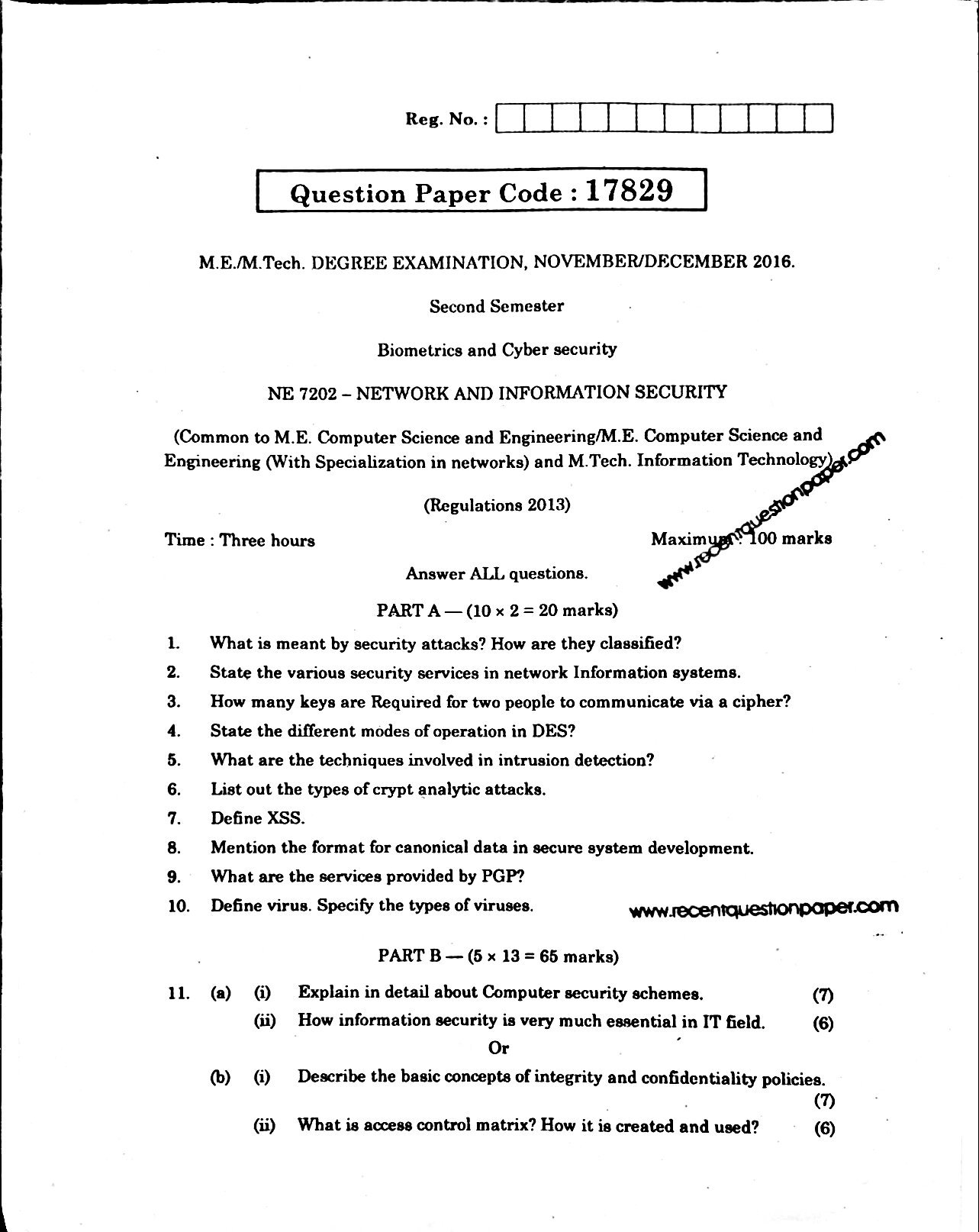 NE7202 NETWORK AND INFORMATION SECURITY 1 - Recent Question Paper