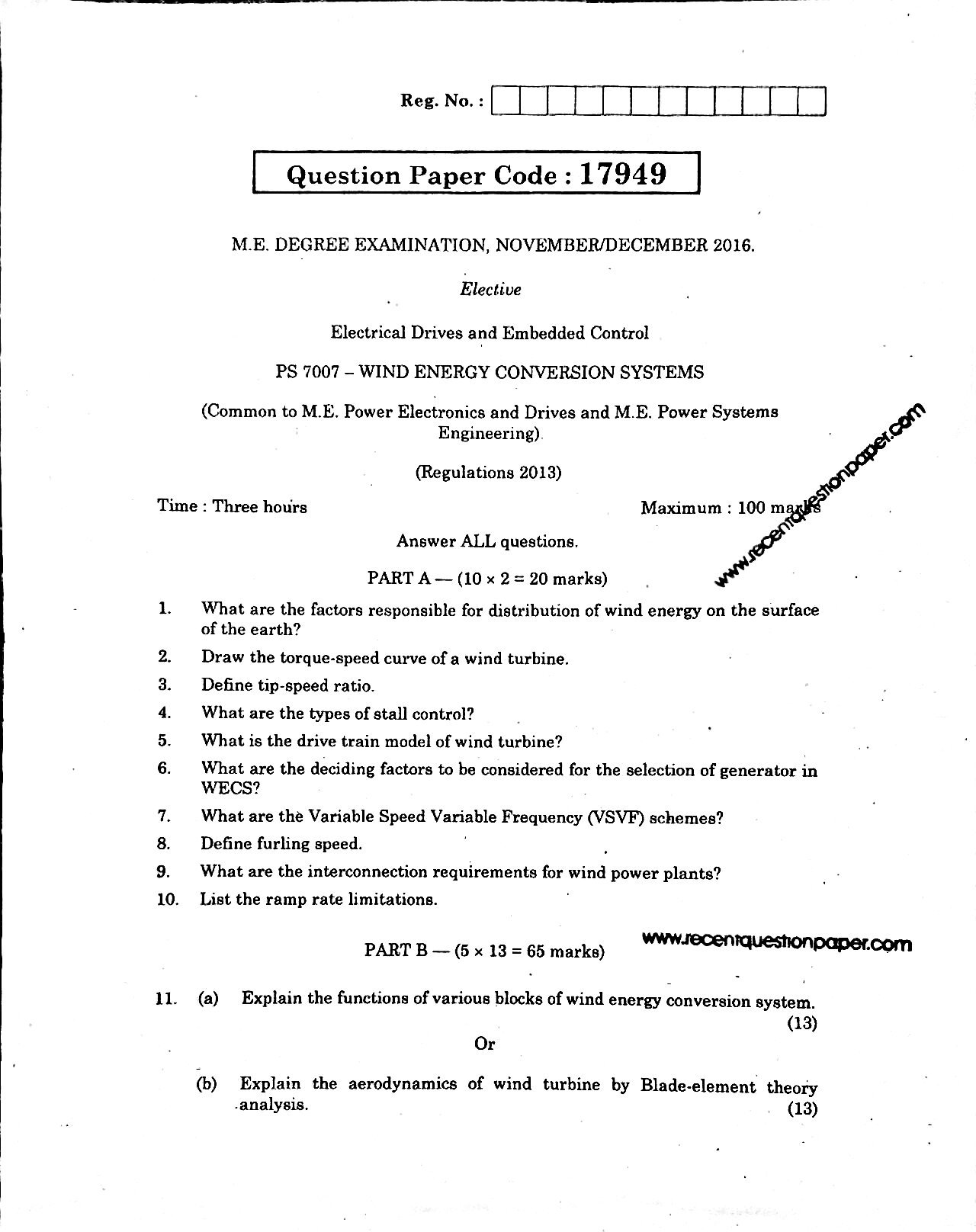 PS7007 WIND ENERGY CONVERSION SYSTEMS 1 Recent Question Paper