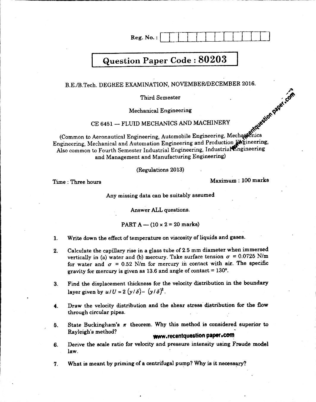 CE6451 FLUID MECHANICS AND MACHINERY 0 - Recent Question Paper