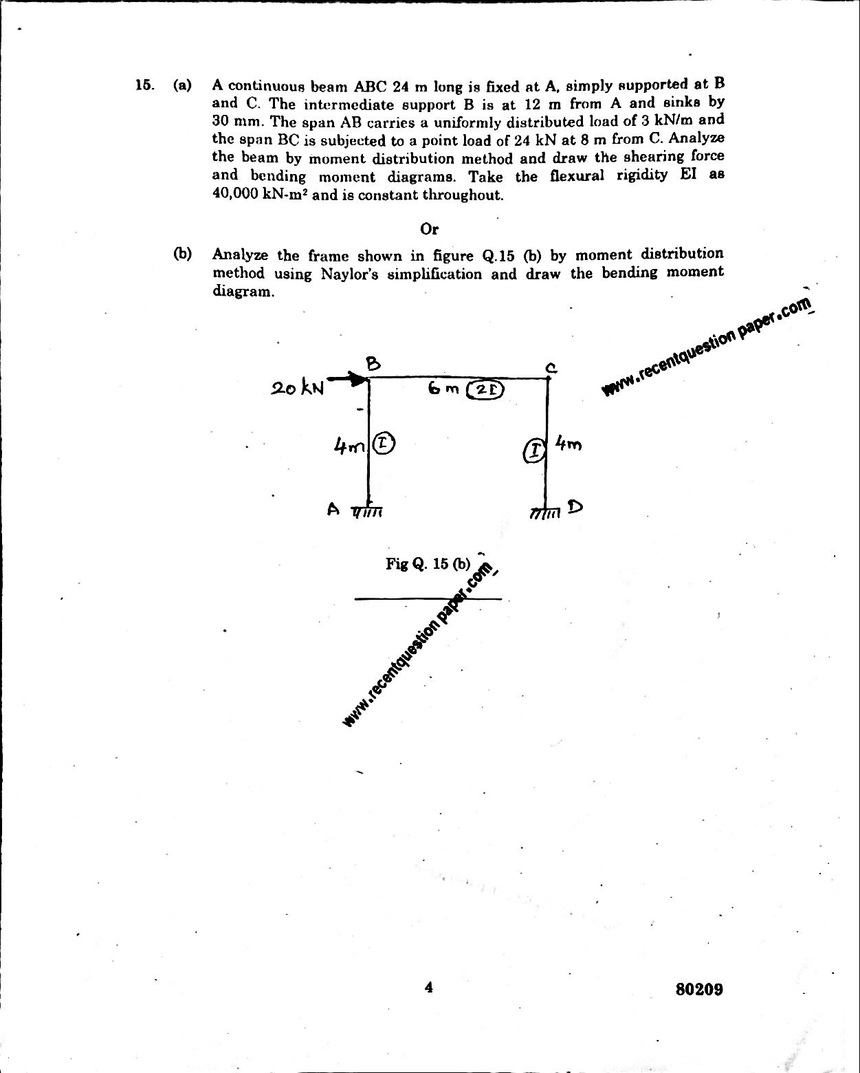 Ce6501 Structural Analysis I 3 Recent Question Paper Frame Bending Moment Diagram