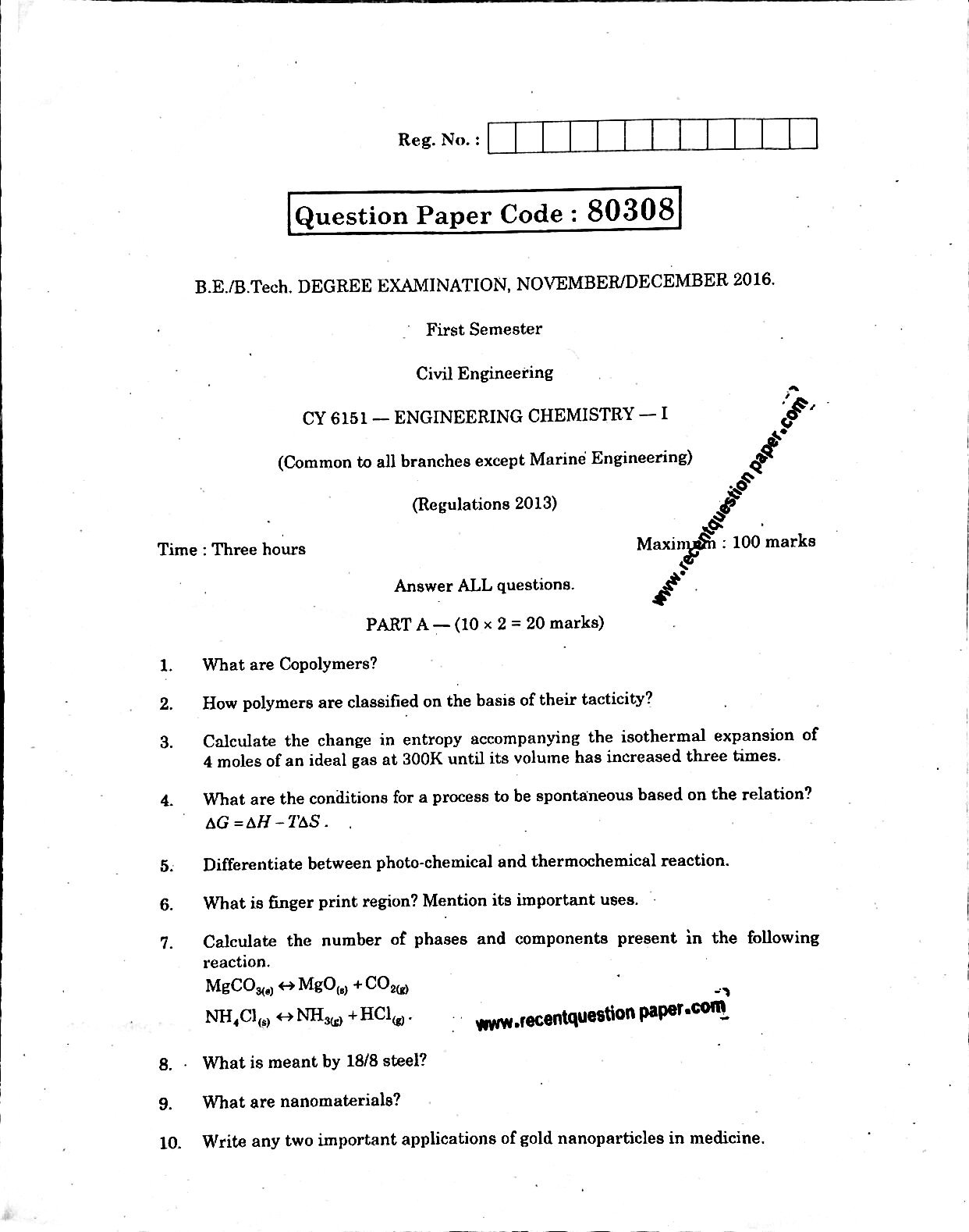 CY6151 ENGINEERING CHEMISTRY-I 0 - Recent Question Paper