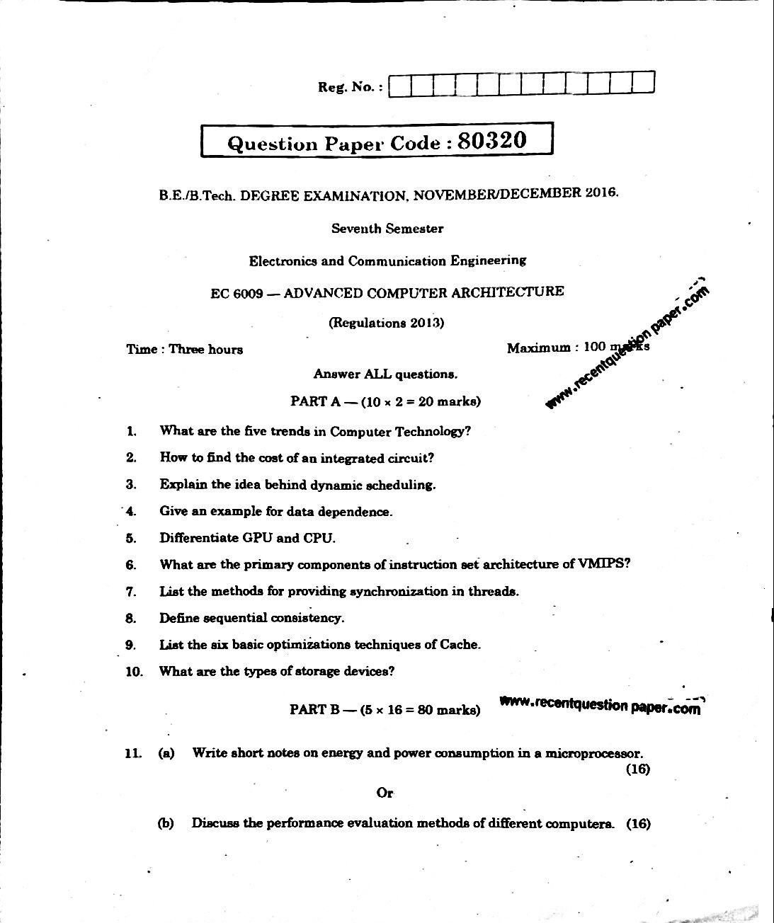 EC6009 Advanced Computer Architecture Anna University Question paper Nov/Dec 2016