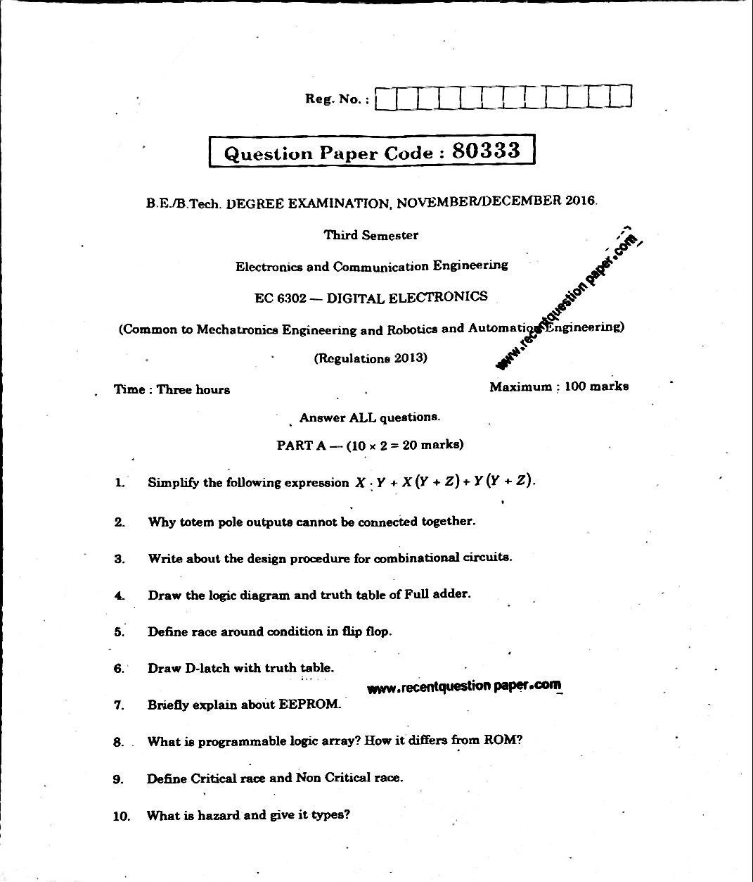 Ec6302 Digital Electronics 0 Recent Question Paper