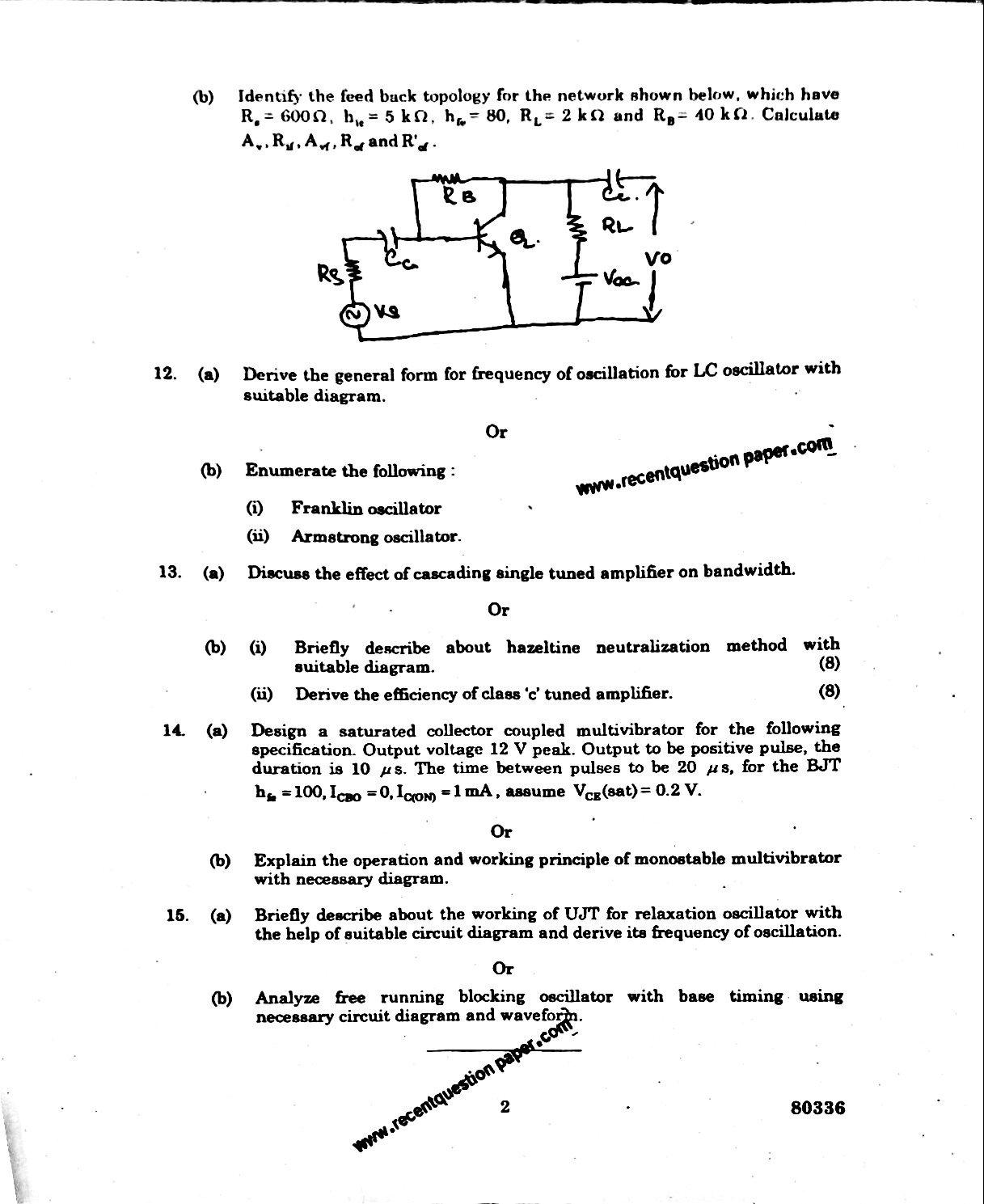 EC6401 Electronic Circuits-II Anna University Question paper Nov/Dec 2016