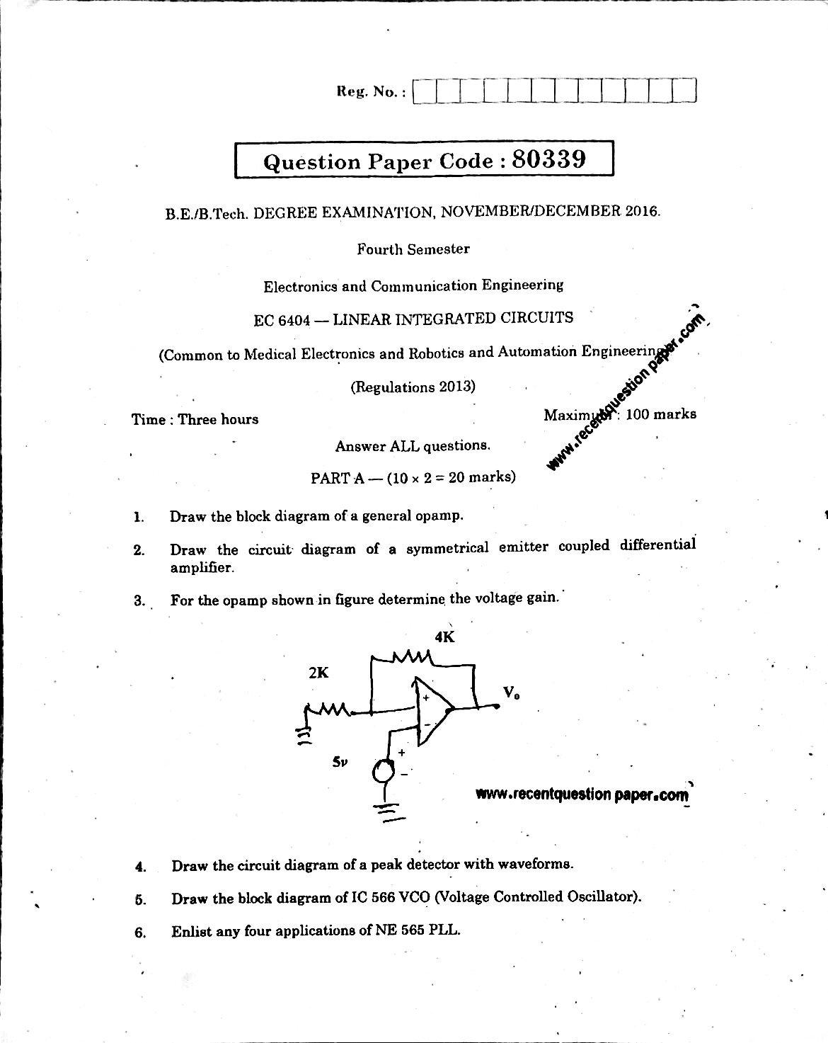 EC6404 Linear Integrated Circuits Anna University Question paper Nov/Dec 2016 Pdf