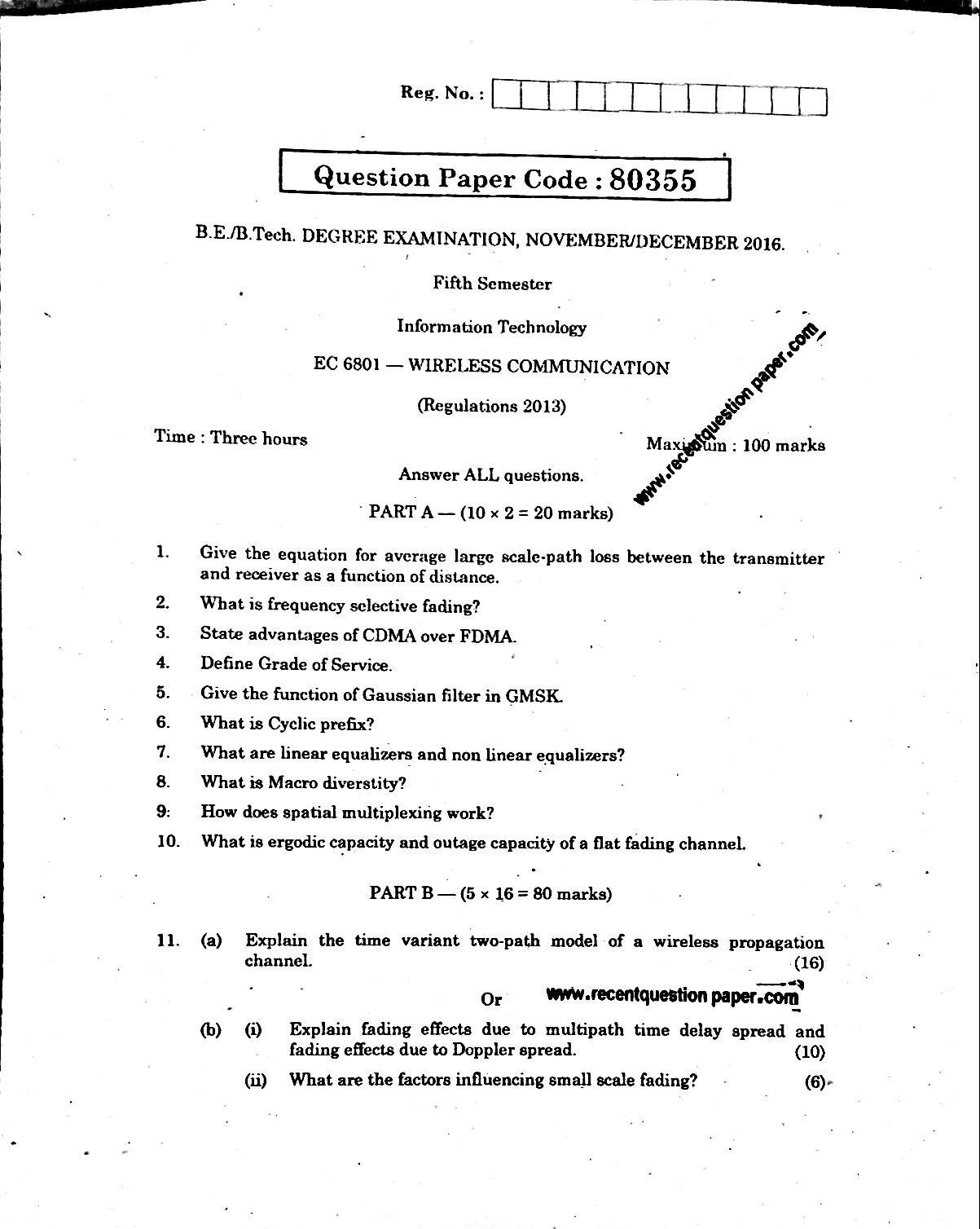 EC6801 Wireless Communication Anna University Question paper Nov/Dec 2016