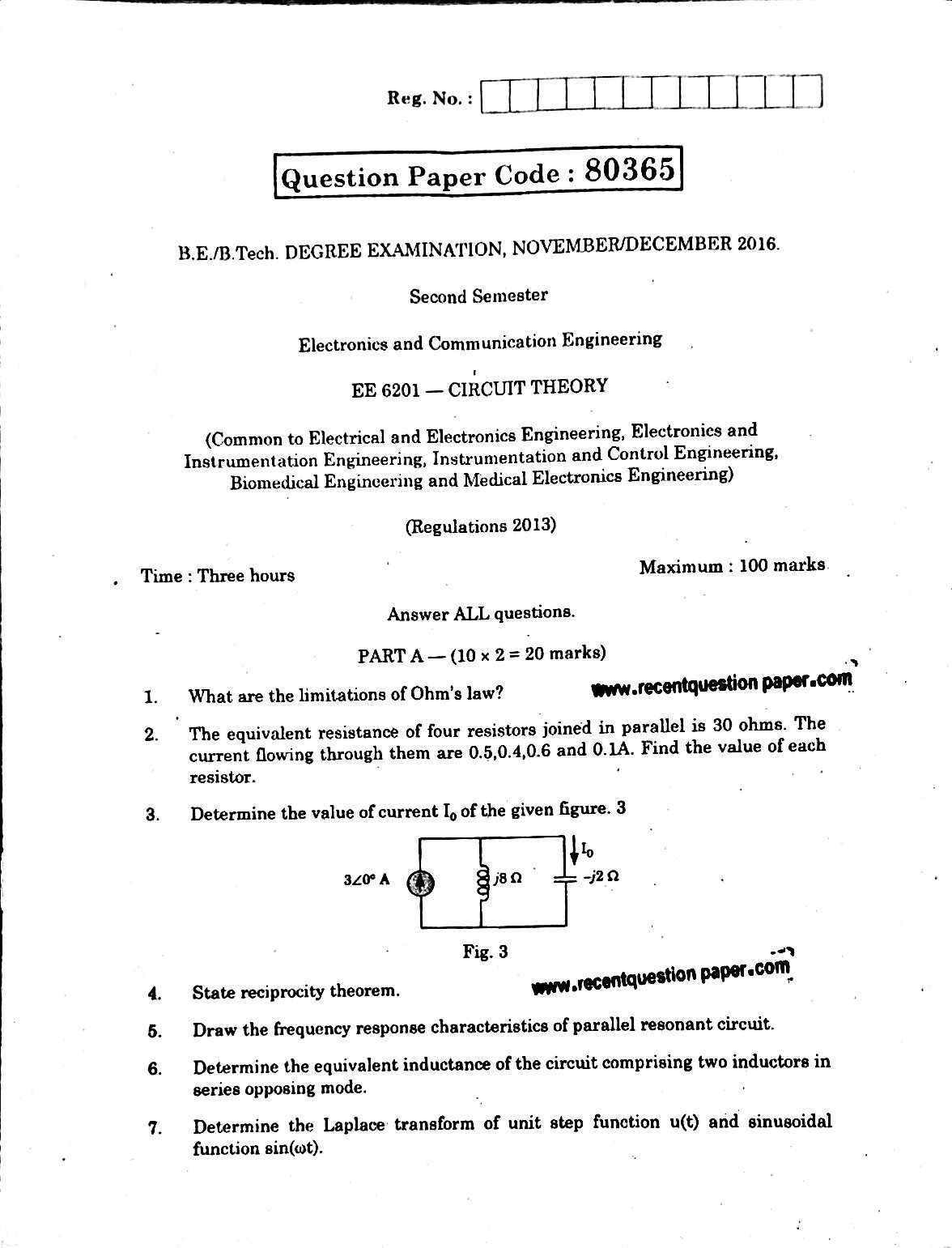 ee6201 circuit theory 0 recent question paperee6201 circuit theory 0
