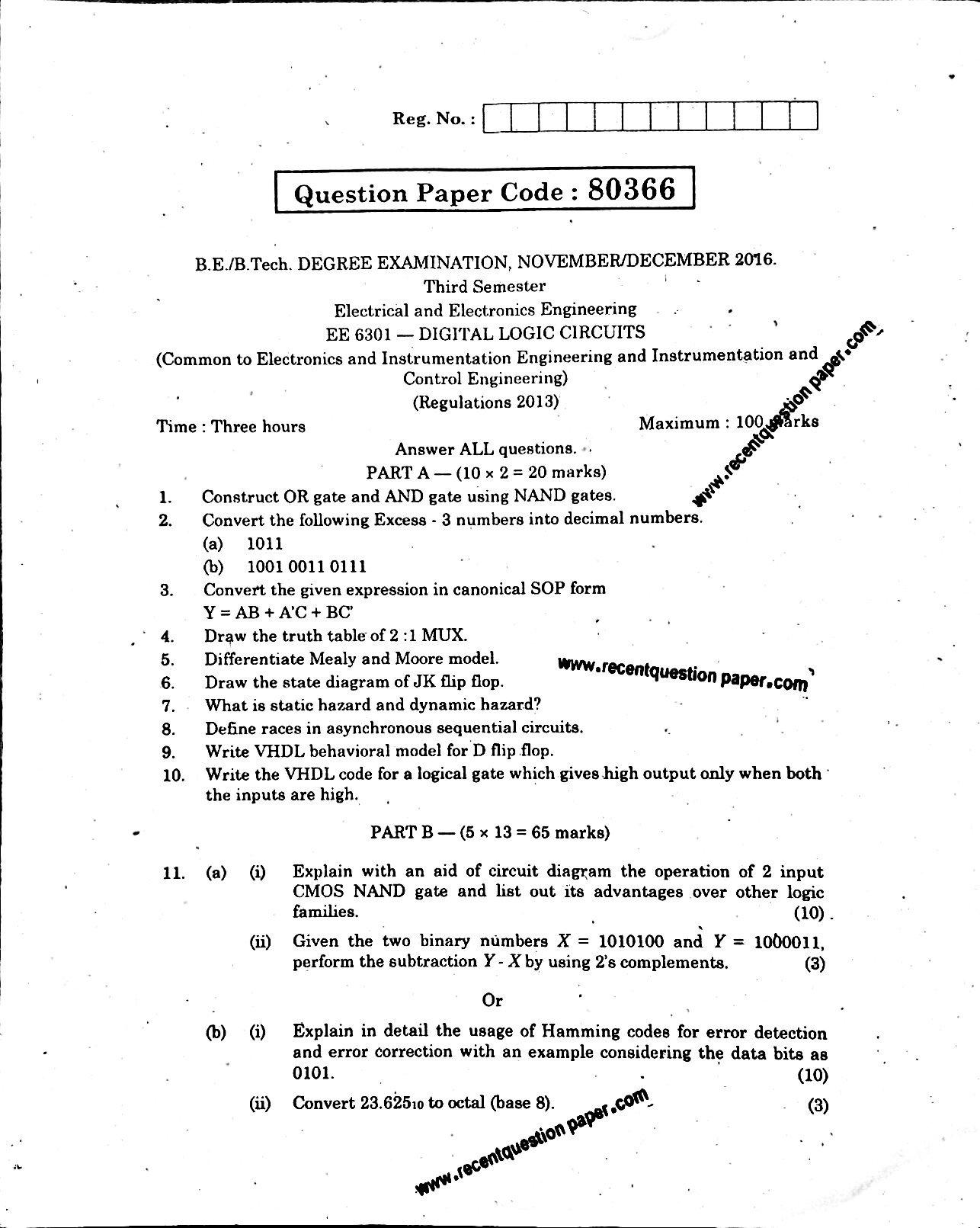 Ee6301 Digital Logic Circuits 0 Recent Question Paper