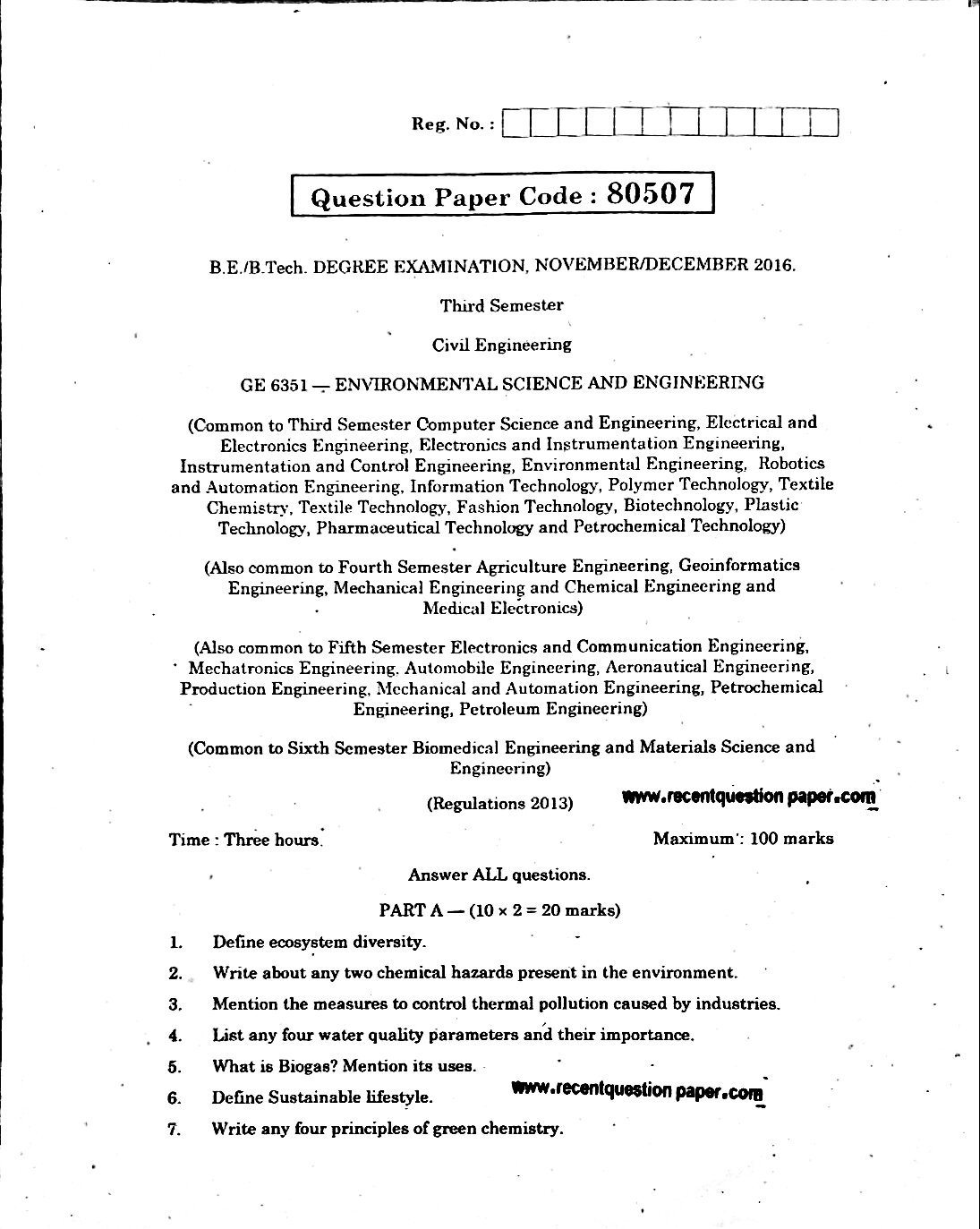 Ge6351 Environmental Science And Engineering 0 Recent Question Paper