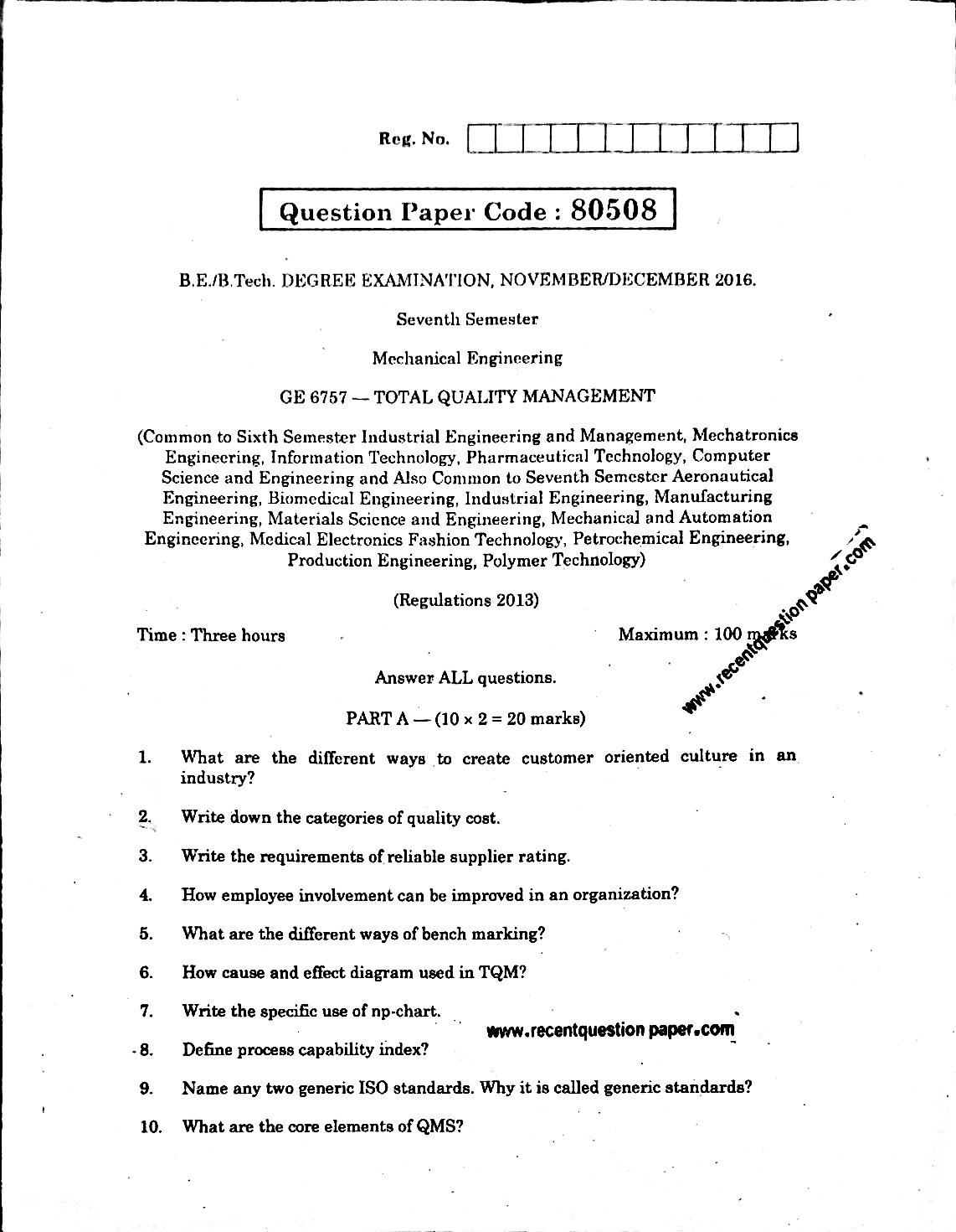 Ge Total Quality Management Novdec  Question Paper How To Write An Essay In High School Independence Day Essay In English Ge Total Quality Management Novdec  Question Paper Autobiography Essay Example For College also Religion And Science Essay